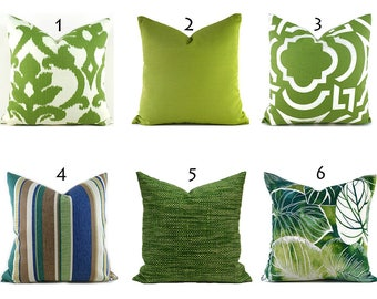 Indoor Outdoor Green Pillow Covers ANY SIZE Decorative Pillows Green Pillows You Choose