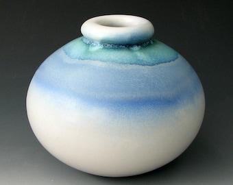 BLUE CERAMIC VASE #19 - Blue Vase - Stoneware Vase - Pottery Vase - Flower Vase - Centerpiece - Home Decor - ikebana - Round Vase - Pottery