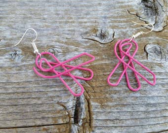 Pink Survivor Ribbon Repurposed Paperclip Earrings - Fun Whimsical support Paperclips - Charm Earrings