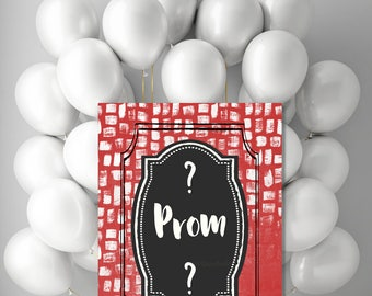Prom? Printable Red DIY Prom proposal poster, digital Junior Senior High School dance invitation, Print your own sign jpg pdf 5x7 8x10 20x24