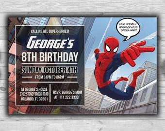 Spider-Man Invitation l Editable Text l Superhero Printable Birthday l Digital File Download