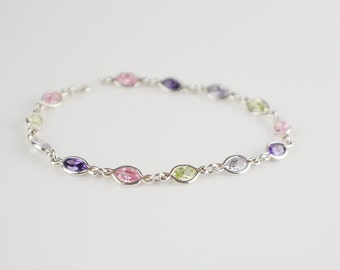 Sparkly Ladies 925 Silver Bracelet Oval Shaped Glass Cut Stones in Green Purple Pink