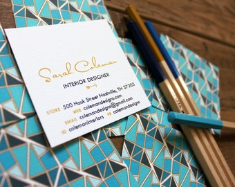 calling cards / business cards faceted pattern aquas / indigo - set (50)