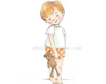 Little Boy Art Print, Little Boy and His Bear, Nursery Bear Art, Red Haired Boy, 8x10 Nursery Decor