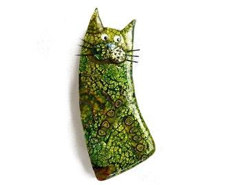 Broche chat, broche chat nommé CLOVIS, chat amoureux cadeau polymère vert argile chat Animal broche, collection chat, fête des mères cadeau du jour pour les amoureux des chats