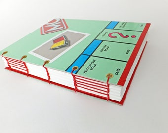 Notebook from London Monopoly board game, Monopoly journal, stationery, Monopoly notebook, planner, artist book, friendship journal