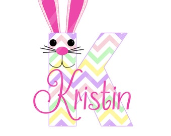 Easter Bunny Initial-Name Digital Download for iron-ons,heat transfers, T-Shirts, Onesies, Bibs, Towels, Aprons, DIY YOU PRINT