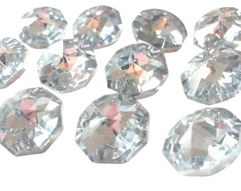 50 SILVER 14mm Octagon Chandelier Crystals Prism Shabby Chic