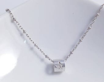 Cylinder Star Necklace in Solid Sterling 925 Silver (SN017)