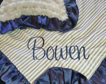 Navy Blue Trimmed Minky Blanket in Gray & Ivory with Gray Rosebud Minky with Personslization