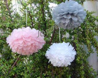 18pcs Mixed Size Pink Grey White Tissue Paper Pom Poms • Wedding Baby Shower Party Baptism Engagement Bridal Shower Nursery Decorations