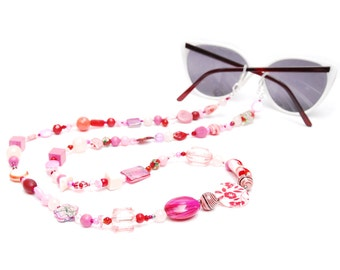 RandomJane glasses chain beaded pink red hippie boho random style summer accessory for eye glasses and sun glasses made in Vienna