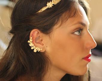 Nor Ear Cuff, Flower Earrings, Gold Floral Ear Cuff, Nature Inspired Jewelry, Flowers Jewellery, Golden Ear Cuff, Boho Chic, Gold Ear Huggie