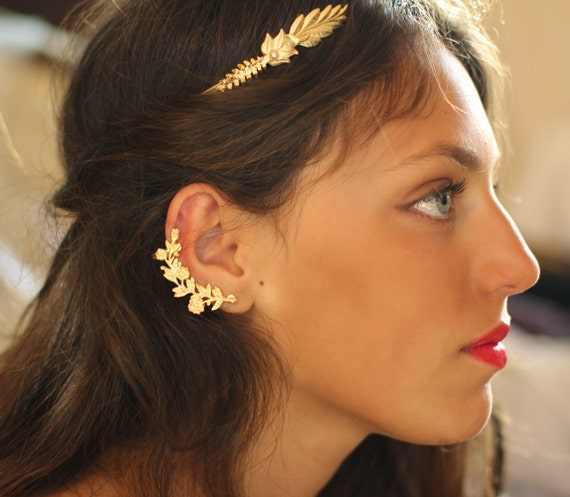 nor ear cuff flower earrings gold floral ear cuff nature