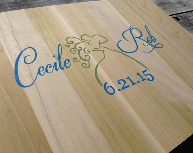Wedding Guest Book with Wedding LOGO, Blue and Green Wedding Decor, Guest Book Alternative Wood Sign, Wooden Guestbook. Decorative Pen