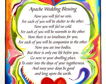 APACHE WEDDING BLESSING 5x7 Inspirational Poster Bride Groom Marriage Anniversary Love Sayings Home Decor Heartful Art by Raphaella Vaisseau