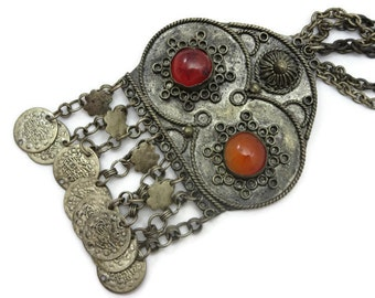 Boho Jewelry - Vintage Pendant Necklace, Carnelian, 1960s 1970s, Fringe, Coins, Brooch, Festival