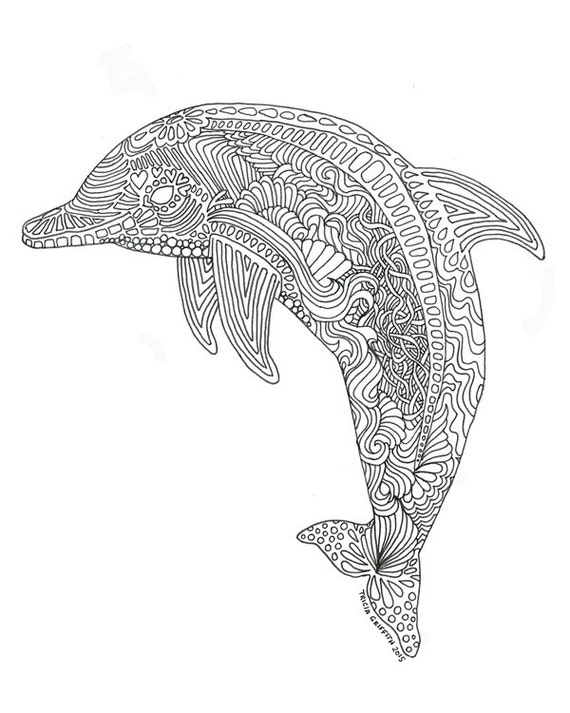 Items similar to Printable Dolphin Coloring Page for Adults on Etsy