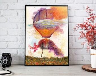 Air Balloon Watercolor, Balloon Painting, Balloon Art, Balloon Wall Art, Balloon Art Print, Air Balloon Wall Art, Hot Air Balloon Watercolor