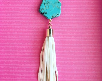 Mini statement by Very Valero #StatementNecklace  turquoise with white tassel. necklace- one of a kind