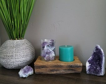 Amethyst Point & Cluster Rustic Nature Candle Holder Home Decor