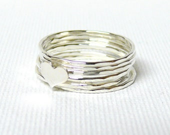 Silver heart ring Sterling silver stacking rings Love ring Sterling silver ring stack rings stackable rings hammered rings