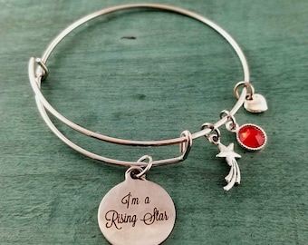 I'm a Rising Star Bangle Charm bracelet, Handmade Jewelry, Charm Bracelet, Custom Made Jewelry, Gift for her