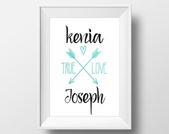 Wedding / Bridal Shower / Instant Printable/ Custom with Bride & Groom Name / 8x10