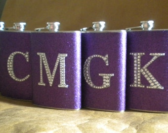 Personalized Bridesmaids Gift Flasks Set of 5 ANY Color Sparkly with ANY Rhinestone Initial 8 oz Stainless Steel Gift Flasks KR2D7653