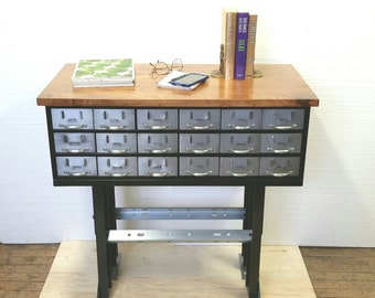 Metal Console Table Vintage Steel Parts Cabinet 18 Drawers Craft Storage Refinished Conversion Media Stand Wood Top Table INV 3