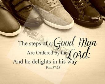 The steps of a good man - Shoe Print - Sepia Print - Digital Download