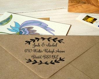 Framed by Laurel Return Address Olive Wood Stamp
