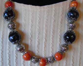 Orange & Dark Blue ceramic beaded necklace