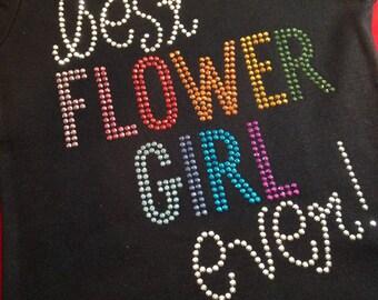 BEST FLOWERGIRL EVER multi color rhinestud tee by 1286 Kids (formerly Daisy Creek Designs)