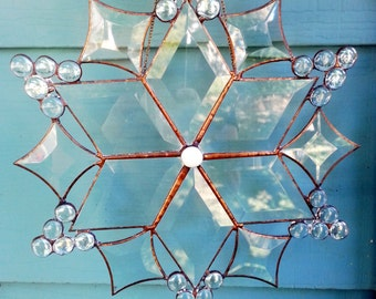 Stained Glass snow flake, Glass snow flake,suncatcher,Sun catchers,stain glass snowflake, prism suncatcher,window hanging, home accents