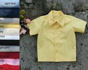 Cotton button up shirt, boys short sleeved shirt. Many colors. Toddler boys cotton shirt.Boys shirt with collar. Boys classic shirt.