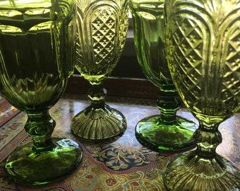 Vintage Green Goblet Set