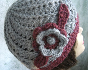Womens Crochet Hat Spiral Ribbed Hat In Heather Gray And Maroon Wool Blend Yarn Double Flower Trim Fits Head Sz 21-22 Inches Ready To Ship