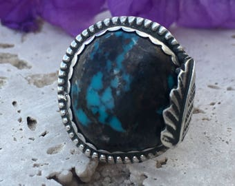 Blue Turquoise and Sterling Silver Ring   Native American Design Jewelry   Dead Pawn   Old Pawn Ring   Hippie Jewelry