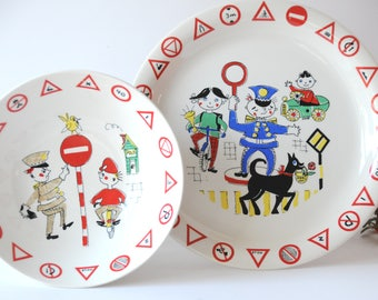 Stavangerflint Norway. Inger Waage design. Kids Set Traffic / Trygg Trafikk. Vintage serving for Children. Scandinavian modern