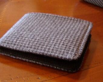 Mens wallet Grey Houndstooth slim wallet  Card wallet 7 Pocket Billfold Vintage Fabric Minimalist Bifold small wallet