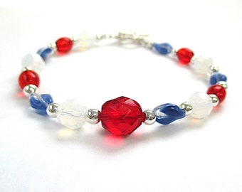 Red White & Blue Bracelet July 4th Patriotic American Jewelry, USA Holiday Colorful Gift for Women, Silver Toggle Clasp, US Flag Colors B532