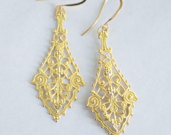 18k Matte Gold or Fine Silver Filigree Earrings, Victorian Inspired Earrings, Long Gold Earrings, Boho Earrings,Gold Filigree Earrings SRAJD