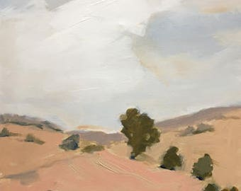 landscape painting muted colors impressionistic painting of rural landscape peach blush pink
