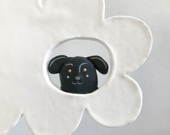 Black Dog in a White Cloud - ceramic wall hanging