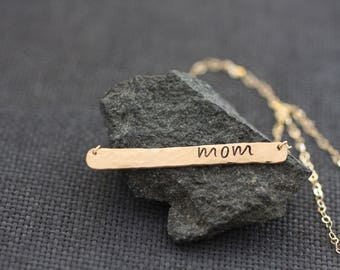 Mom Bar Necklace, Mothers Day Gift, Gift For Her, Mothers Day Jewelry, Gold Bar Necklace, Mothers Day Necklace, Gift For Mom Gift