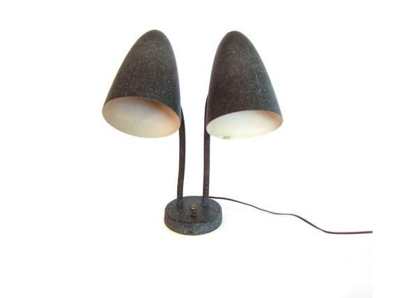 Mid century bullet fiberglass lamp shade double gooseneck mid century bullet fiberglass lamp shade double gooseneck table lamp aloadofball Choice Image