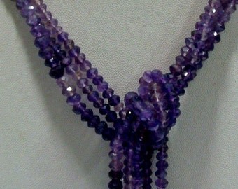Amethyst Rondelles - 4mm Faceted Rondelles Shaded - 14 Inch Strand