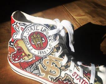 FSU Florida State Seminoles lace up hand painted custom sneakers