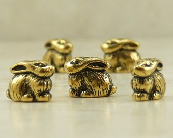 5 TierraCast Bunny Rabbit Beads > Easter Spring Garden - 22kt Gold Plated LEAD FREE pewter - I ship internationally 5620